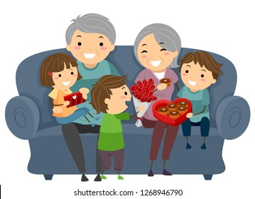 Illustration of Stickman Kids Giving Chocolates to their Grandparents