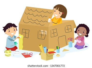 Illustration of Stickman Kids with Glue, Paint and Paper Making a Big Cardboard House