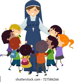 Illustration of Stickman Kids Group Hugging a Nun