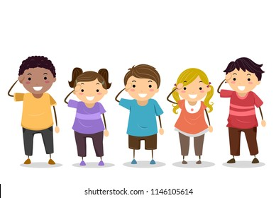 Illustration of Stickman Kids with Hands on Head Saluting