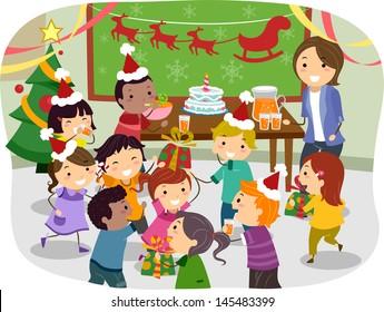 Cartoon Kids Christmas Party Images Stock Photos Vectors Shutterstock