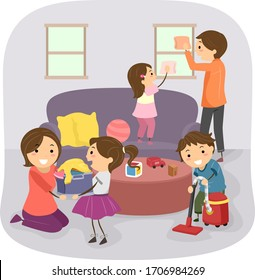 Illustration of Stickman Kids Helping Parents with Cleaning the House