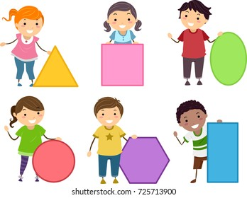 Illustration of Stickman Kids Holding Basic Shapes from Triangle, Square, Oblong, Circle, Rectangle and Hexagon