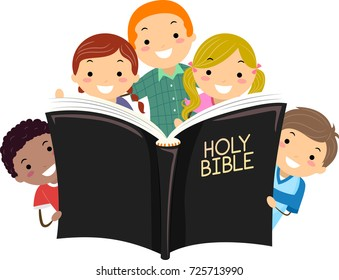 Illustration of Stickman Kids Holding a Big Open Bible Book
