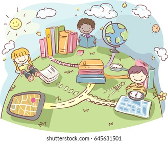 Illustration of Stickman Kids Holding a Binoculars, a Compass and Map and a Book