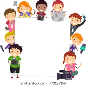 Illustration of Stickman Kids Holding Camera, Mic, Newspaper and Notes with Blank Board