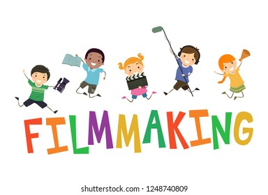 Illustration of Stickman Kids Holding Clapper, Microphone, Script, Megaphone and Video Camera