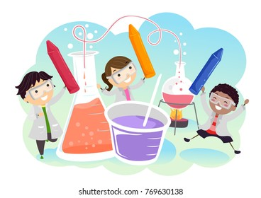 Illustration of Stickman Kids Holding Crayons with Chemicals in Laboratory