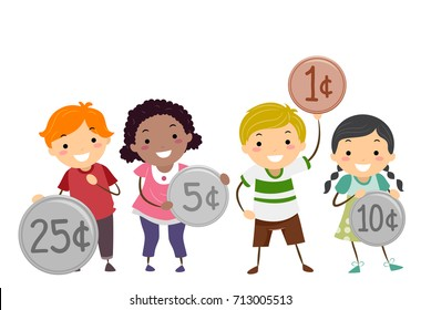 Illustration of Stickman Kids Holding Different Coins from Twenty Five Cents to One Cent