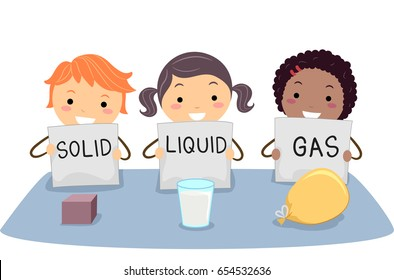 Illustration of Stickman Kids Holding Flash Cards for a Cube, Milk and a Balloon as Solid, Liquid and Gas