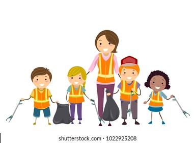 Illustration of Stickman Kids Holding Litter Picker and Garbage Bags with their Teacher
