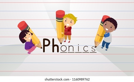 Illustration of Stickman Kids Holding Pencils Writing Phonics on Paper