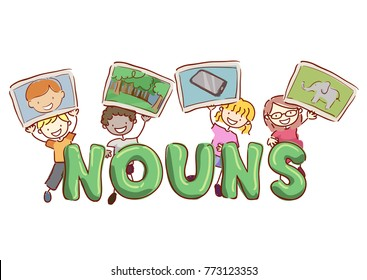 Illustration of Stickman Kids Holding Samples of Nouns for Class