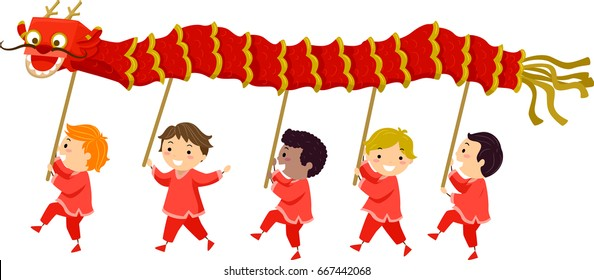 Illustration of Stickman Kids Holding Sticks with Red Dragon Doing the Dragon Dance