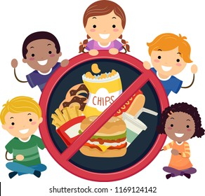 Illustration of Stickman Kids Holding a Stop or No Sign with Junk Food Inside