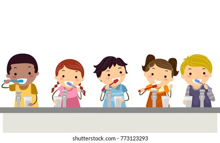 Illustration of Stickman Kids Holding Toothbrush and Glass of Water Brushing their Teeth