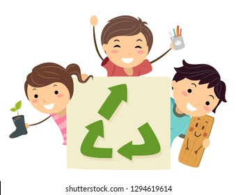 Illustration of Stickman Kids Holding an Upcycle Symbol and Holding a Boots Pot, Tin Can Pen Holder and Wooden Board Doll
