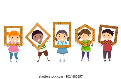 Illustration of Stickman Kids Holding Wooden Frames They Made in Woodworking Class