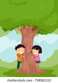 Illustration of Stickman Kids Hugging a Tree as Part of Environment Awareness