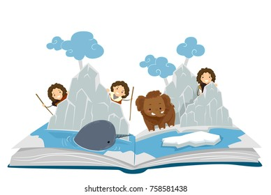 Illustration of Stickman Kids in an Ice Age Pop Up Story Book with Icebergs, Mammoth and Narwhal