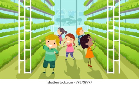Illustration of Stickman Kids Inside a Modern Vertical Garden Inside a Greenhouse