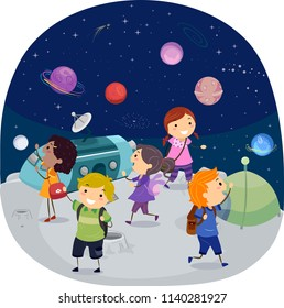 Illustration of Stickman Kids Inside a Planetarium Looking at Outer Space