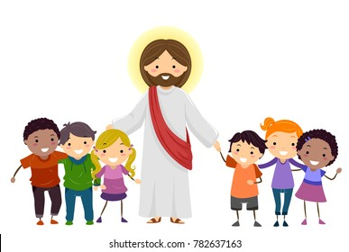 Illustration of Stickman Kids with Jesus Christ