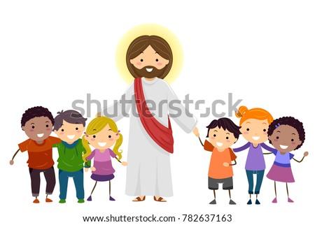 Illustration Stickman Kids Jesus Christ Stock Vector ...