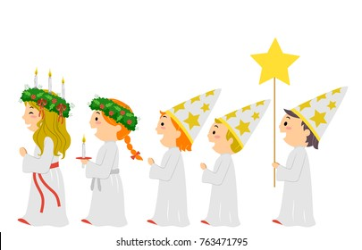 Illustration of Stickman Kids Joining a Saint Lucia Parade Wearing Lucia and Star Boy Costume