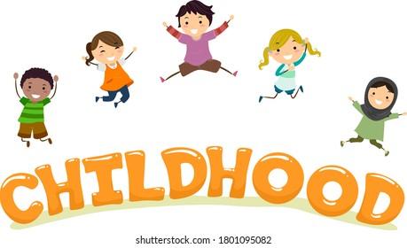 Illustration of Stickman Kids Jumping Over Childhood Lettering