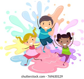 Illustration of Stickman Kids Jumping with Paint Splats Having Fun