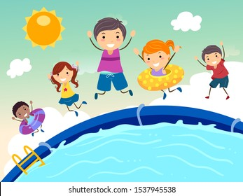Illustration of Stickman Kids Jumping In a Swimming Pool in the Summer