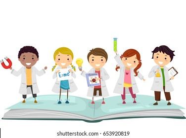 Illustration of Stickman Kids in Lab Gowns on Top of a Science Book Holding Experiments