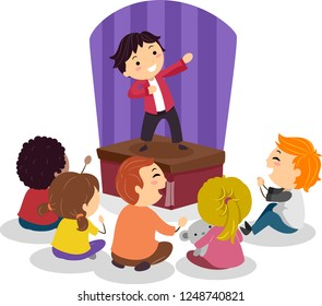 Illustration of Stickman Kids Laughing and Watching a Friend Performing on Stage