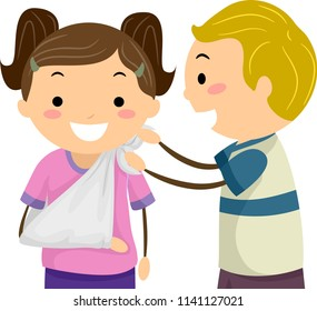 Illustration of Stickman Kids Learning About Placing an Arm Sling as Part of First Aid