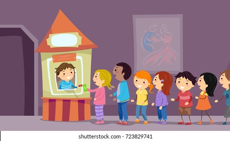 Illustration of Stickman Kids Lining Up in the Ticketing Booth