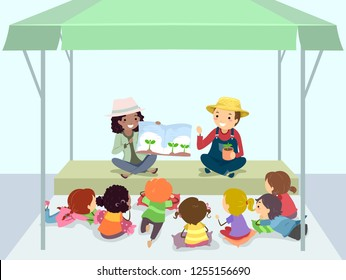 Illustration of Stickman Kids Listening to a Farming or Planting Story from a Farmer