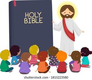 Illustration of Stickman Kids Listening to Jesus Christ Talking with Bible