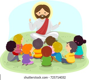 Illustration of Stickman Kids Listening to Jesus Christ Preaching Outdoors