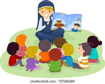 Illustration of Stickman Kids Listening to a Nun Telling a Story from a Book