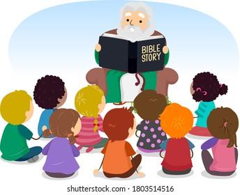 Illustration of Stickman Kids Listening to a Senior Man Reading Bible Stories