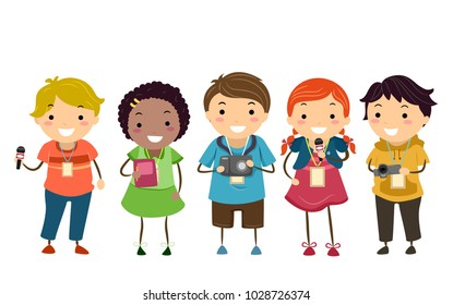Illustration of Stickman Kids as Little Journalists Holding a Microphone, Notebook and Camera