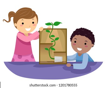 Illustration of Stickman Kids Looking at a Plant Following the Light Experiment