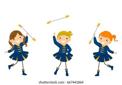 Illustration of Stickman Kids in Majorette Uniform performing their Routine