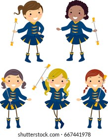 Illustration of Stickman Kids in Majorette Uniforms in Different Poses