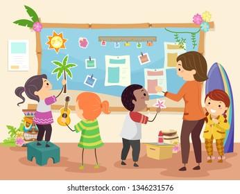 Illustration of Stickman Kids Making a Hawaiian Theme Bulletin Board with their Teacher