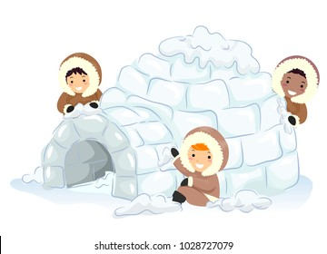 Illustration of Stickman Kids Making an Igloo Outdoors