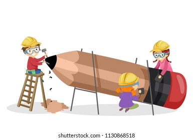 Illustration of Stickman Kids Making a Pencil. Woodworking Project
