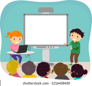 Illustration of Stickman Kids Making a Presentation in Class with a Laptop and a Blank Screen Board
