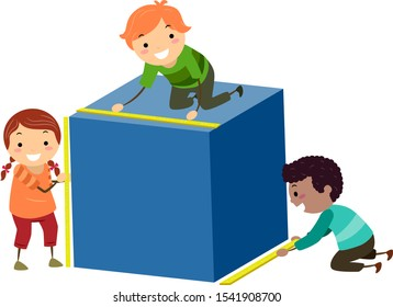 Illustration of Stickman Kids Measuring a Cubes Height, Width and Length for Geometry Class